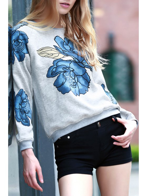 outfit Floral Print Round Collar Long Sleeve Sweatshirt - LIGHT GRAY XS