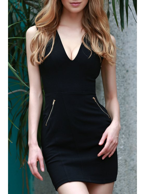 shop Lace Up Plunging Neck Sleeveless Slimming Dress - BLACK XL