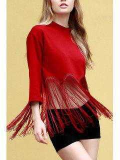 Tassels Spliced Stand Neck 3/4 Sleeve T-Shirt - Red 2xl