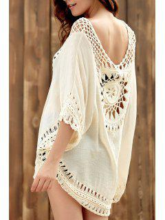 Crochet Cut Out Round Neck Half Sleeve Cover Up - Apricot