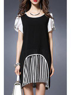 Stripe Spliced Round Collar Short Sleeve Chiffon Dress - Black 5xl