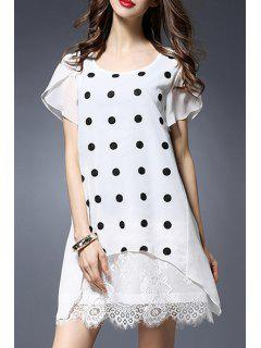 Polka Dot Round Collar Short Sleeve Lace Spliced Dress - White 5xl