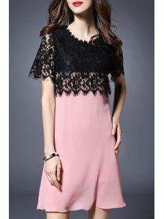 Lace Spliced Round Collar Short Sleeve Dress - Black And Pink 5xl