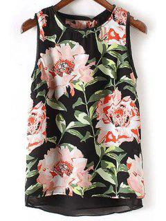 All-Fit Floral Print Round Neck Chiffon Tank Top - Black L