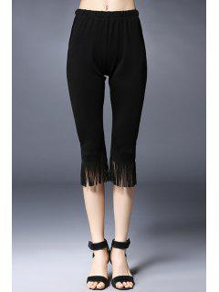 Tassels Spliced Solid Color Capri Pants - Black 5xl