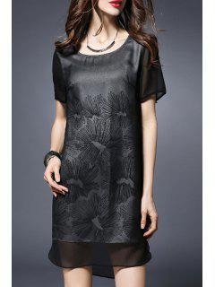Printed Round Collar Short Sleeve Loose Fitting Dress - Black 5xl