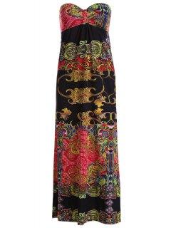 Vintage Print Strapless Maxi Dress