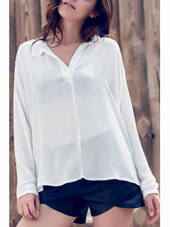 Suelta Color Sólido Cuello En V Manga Larga Blusa - Blanco 2xl