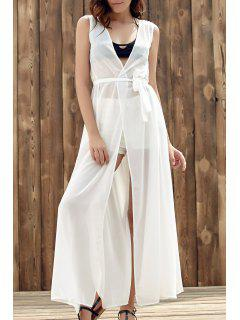 Solid Color Collarless Sleeveless Chiffon Beach Dress - White L