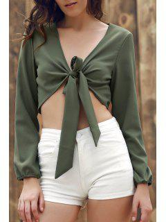 Plunging Neck Front Knot Crop Top - Army Green L