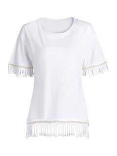Borlas Empalmado De Cuello Redondo Manga Mitad De La Camiseta - Blanco
