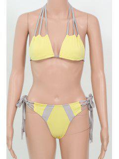 Hit Color Halter Neck Bikini Set - Yellow Xl