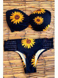 Sunflower Print Strapless Bikini Set - Black M