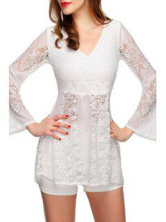V-Neck Bell Sleeve Lace Dress - White Xl