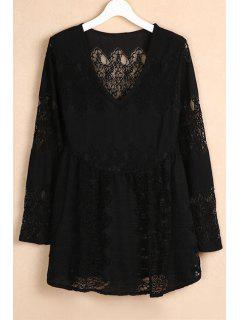 V-Neck Bell Sleeve Lace Dress - Black Xl