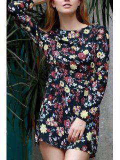 Floral Minuscule Imprimer Jewel Neck Robe à Manches Longues - Noir 3xl