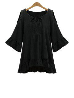 Ruffle Hem Cut-Out Blouse - Black 5xl