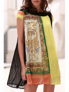 Ethnic Style Printed Round Neck Short Sleeve Chiffon Dress - Yellow Xl