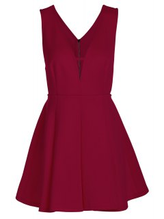 Solid Color Plunging Neck Sleeveless Flare Dress - Claret Xl