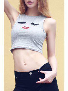Cartoon Print Round Collar Tank Top - Light Gray L