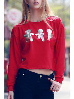 Cartoon Print Round Collar Long Sleeve T-Shirt - Red 2xl