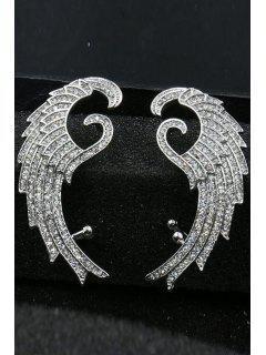 Rhinestone Feather Shape Ear Cuff - Silver