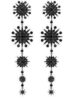 Faux Gem Sunflower Shape Chandelier Earrings - Black