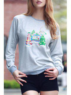 Cartoon Print Round Collar Long Sleeve Sweatshirt - Blue Gray 2xl
