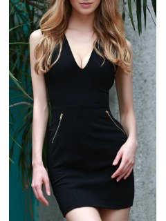 Lace Up Plunging Neck Sleeveless Slimming Dress - Black Xl