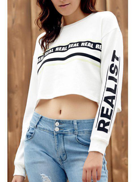 Impreso de cuello redondo larga recortada la camiseta de manga - Blanco S Mobile