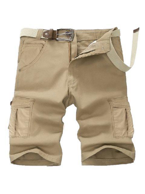 Pierna recta ocasional estéreo de bolsillo que adelgaza la mosca de la cremallera de carga pantalones cortos para los hombres - Caqui 36 Mobile