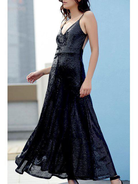 hot Backless Sequins Spaghetti Strap Maxi Dress - BLACK L Mobile