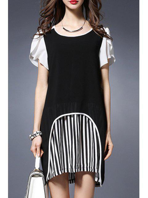 hot Stripe Spliced Round Collar Short Sleeve Chiffon Dress - BLACK 2XL Mobile
