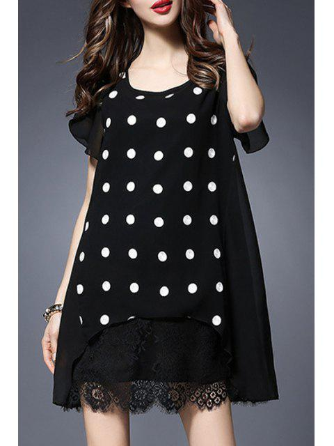 affordable Polka Dot Round Collar Short Sleeve Lace Spliced Dress - BLACK 2XL Mobile
