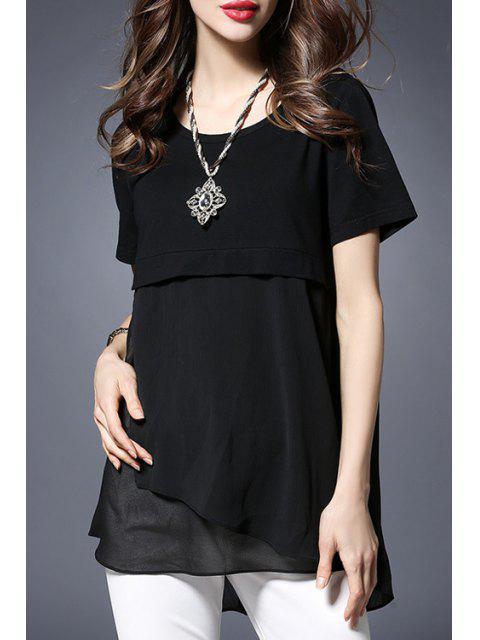 trendy Chiffon Spliced Round Collar Short Sleeve T-Shirt - BLACK 3XL Mobile