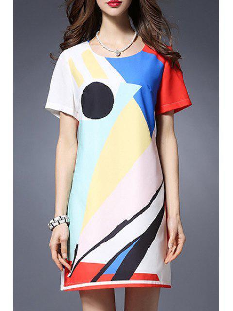 online Color Block Round Neck Short Sleeve Dress - COLORMIX 3XL Mobile