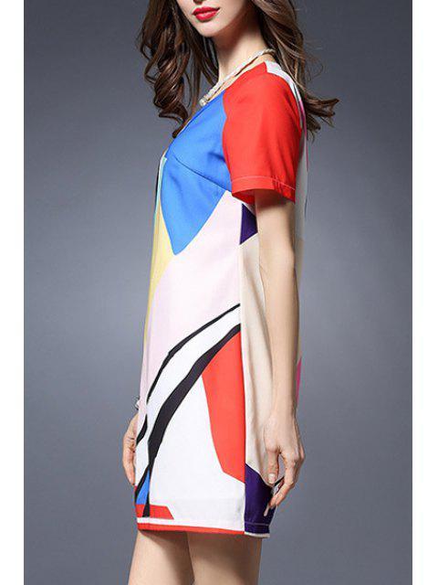 hot Color Block Round Neck Short Sleeve Dress - COLORMIX 5XL Mobile