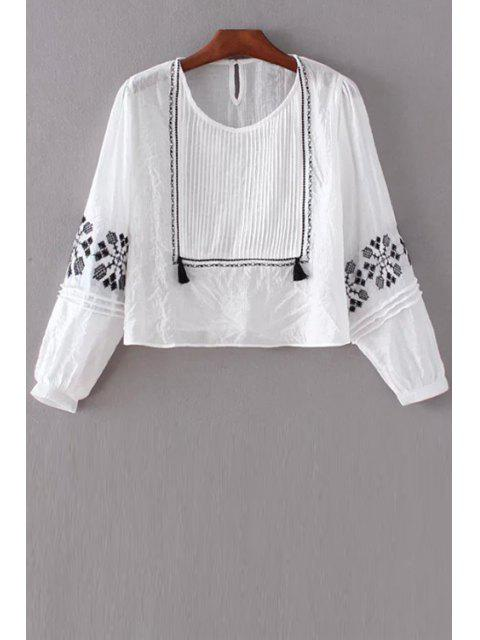 Top Pintuck bordado - Blanco L Mobile