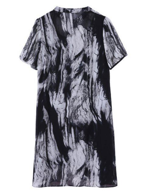 affordable Printed Short Sleeve Loose Fitting Dress - BLACK 5XL Mobile