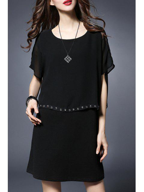 lady Rivet Embellished Round Collar Batwing Sleeve Dress - BLACK 3XL Mobile
