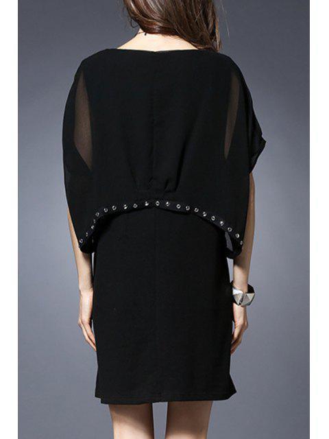 lady Rivet Embellished Round Collar Batwing Sleeve Dress - BLACK 3XL Mobile