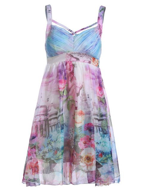 women Floral Print Cami Pleated Dress - COLORMIX ONE SIZE(FIT SIZE XS TO M) Mobile