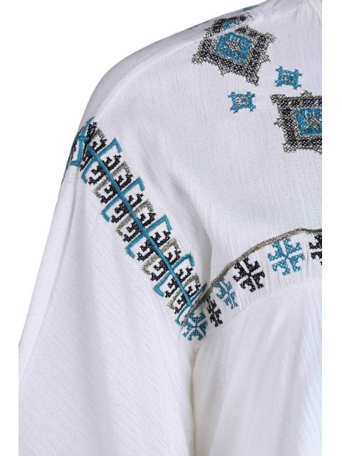 chic Embroidery Round Collar Half Sleeve T-Shirt - WHITE ONE SIZE(FIT SIZE XS TO M) Mobile