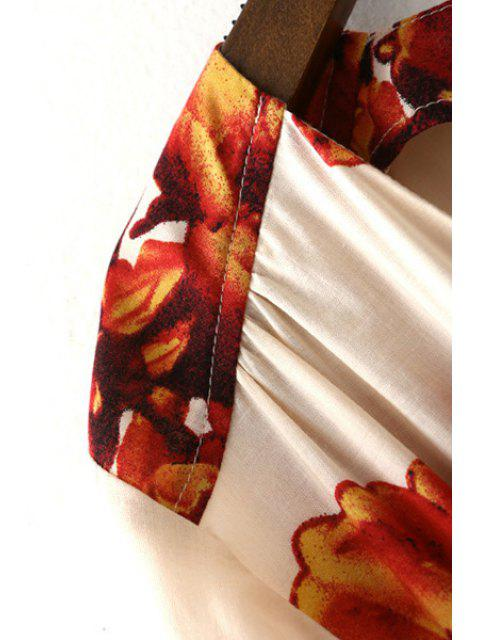 Fleur Imprimer Plongeant Neck Lartern manches Romper - Blanc M Mobile