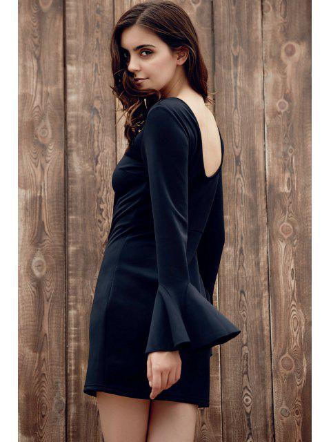 buy Flare Sleeve Low Back Bodycon Dress - BLACK M Mobile