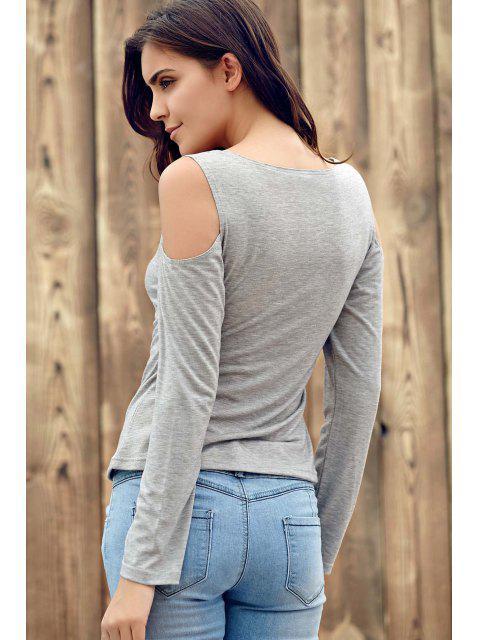 lady Deep V Neck Cut Out T-Shirt - LIGHT GRAY M Mobile
