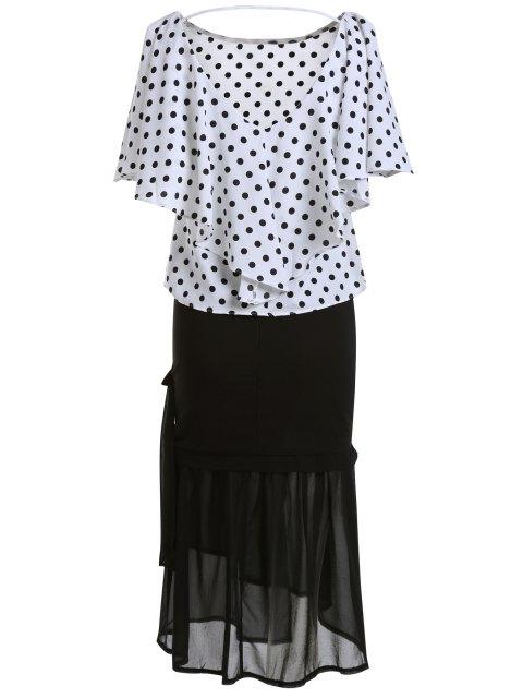 Polka T-shirt Dot et jupe sirène Twinset - Blanc et Noir Taille Unique(S'adap Mobile
