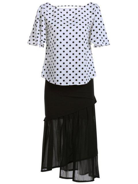 latest Polka Dot T-Shirt and Mermaid Skirt Twinset - WHITE AND BLACK ONE SIZE(FIT SIZE XS TO M) Mobile