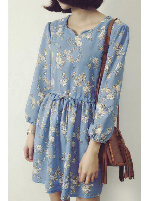 ladies Loose Printed Round Neck Long Sleeve Chiffon Dress - LIGHT BLUE 4XL Mobile