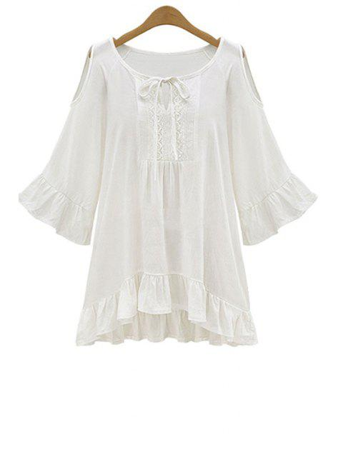 unique Ruffle Hem Cut-Out Blouse - WHITE 2XL Mobile